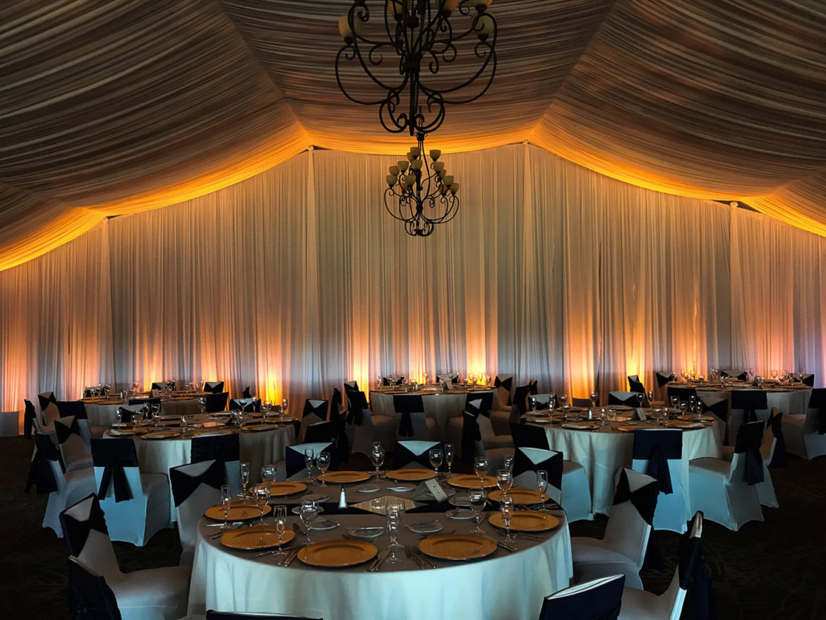 Elegant_Event_Lighting_Chicago_Eaglewood_Resort_Spa_Itasca_Wedding_Draping_Amber_Uplighting_LED