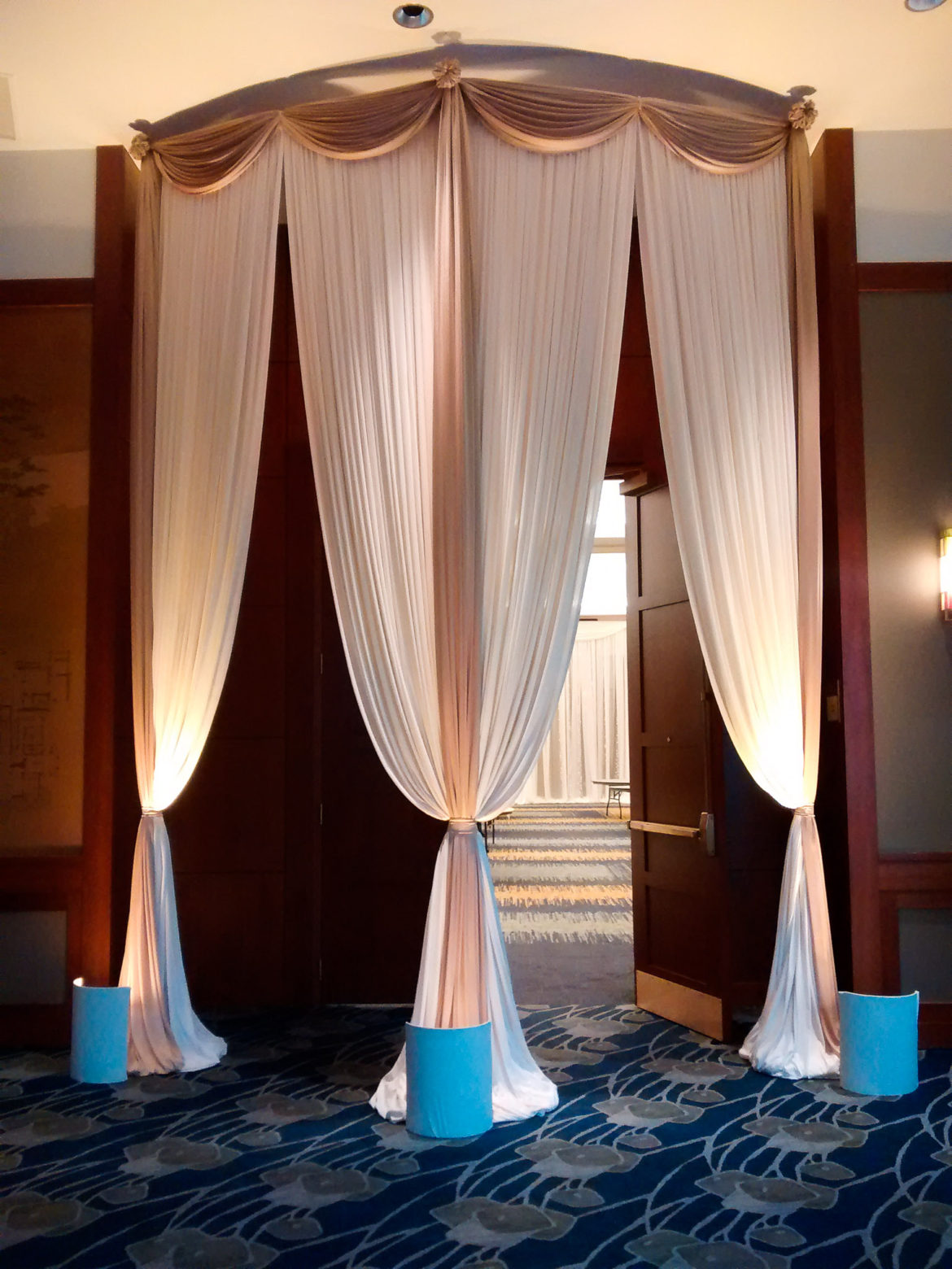 Elegant_Event_Lighting_Chicago_Eaglewood_Resort_Spa_Itasca_Wedding_Entrance_Draping_Ivory_Champagne