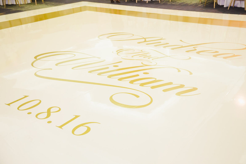 Elegant_Event_Lighting_Chicago_Eaglewood_Resort_Spa_Itasca_Wedding_Ivory_Dance_Floor_Gold_Monogram