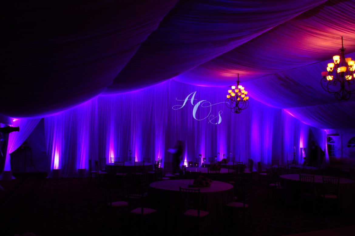 Elegant_Event_Lighting_Chicago_Eaglewood_Resort_Spa_Itasca_Wedding_Tent_Purple_Monogram_Lighting