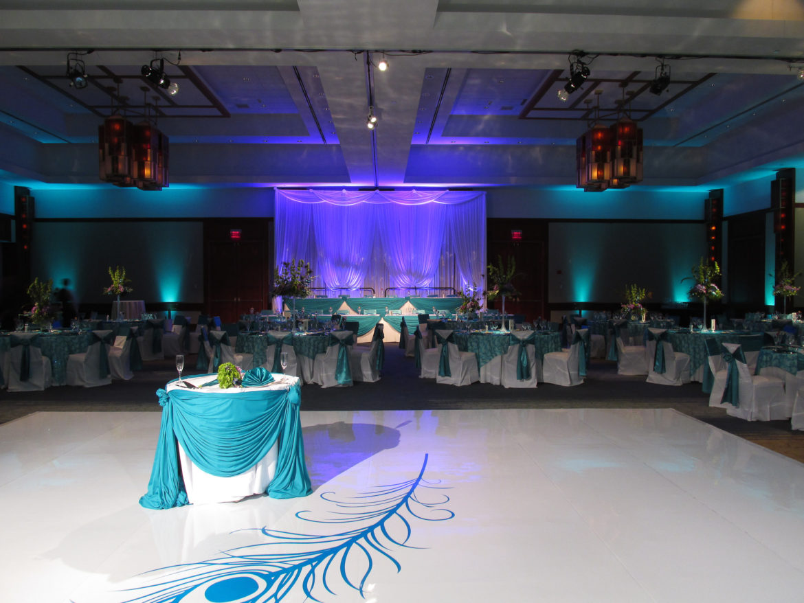 Elegant_Event_Lighting_Chicago_Eaglewood_Resort_Spa_Itasca_Wedding_White_Dance_Floor_Feather_Monogram_Teal_Purple_LED_Uplighting_Draping_Backdrop