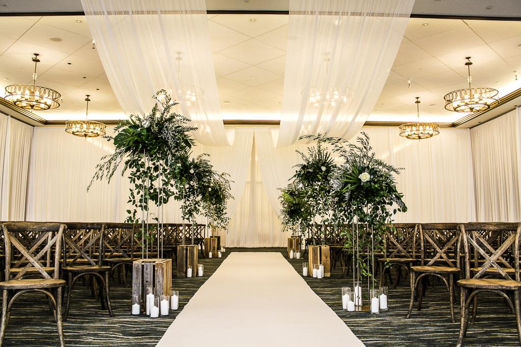 Elegant_Event_Lighting_Chicago_Edgewater_Wisconsin_Wedding_Ceiling_Drapes_White_Entrance_Draping_Aisle_Runner