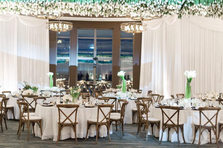 Elegant_Event_Lighting_Chicago_Edgewater_Wisconsin_Wedding_White_Backdrop_Room_Draping_Hanging_Flowers