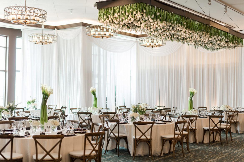 Elegant_Event_Lighting_Chicago_Edgewater_Wisconsin_Wedding_White_Backdrop_Valances_Room_Draping_Hanging_Flowers