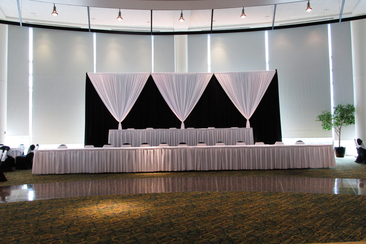 Elegant_Event_Lighting_Chicago_Esplanade_Lakes_Double_Tree_Downers_Grove_Wedding_Draping_Black_White_Backdrop