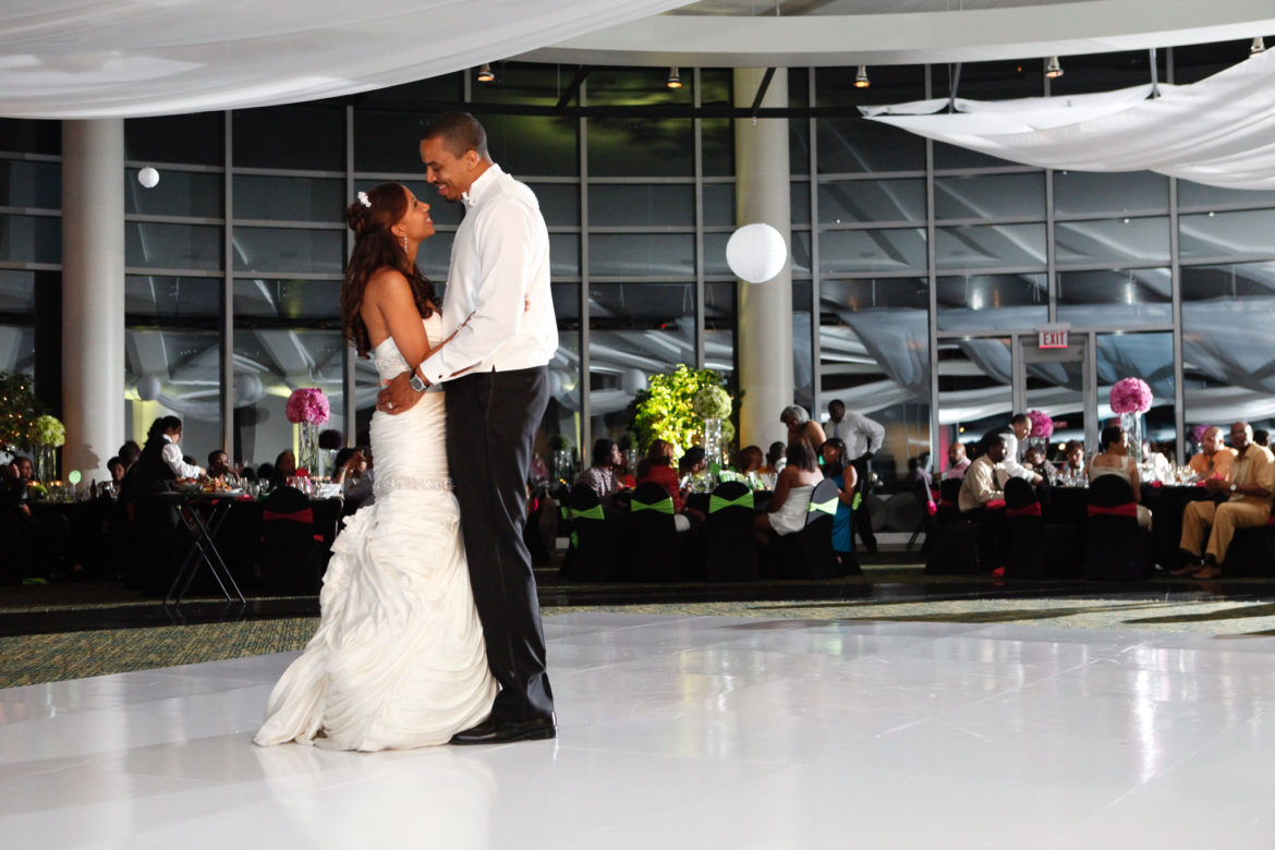 Elegant_Event_Lighting_Chicago_Esplanade_Lakes_Double_Tree_Downers_Grove_Wedding_White_Dance_Floor_First_Dance_Ceiling_Drapes