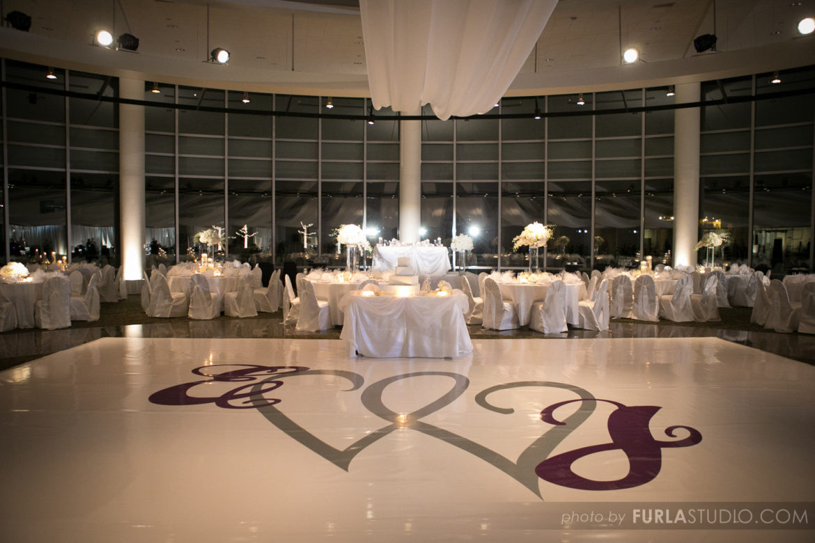 Elegant_Event_Lighting_Chicago_Esplanade_Lakes_Double_Tree_Downers_Grove_Wedding_White_Dance_Floor_Purple_Silver_Monogram