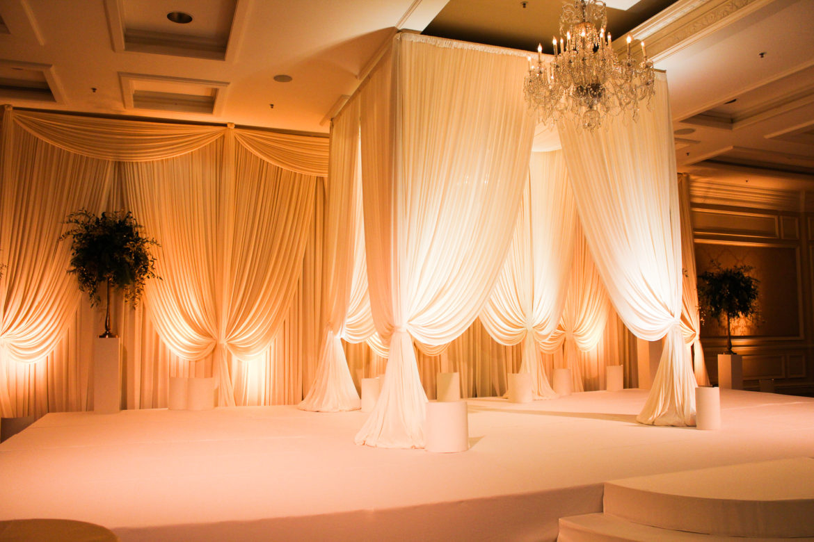 Elegant_Event_Lighting_Chicago_Four_Seasons_Wedding_Ivory_Backdrop_Amber_Uplighting_Stage_Cover