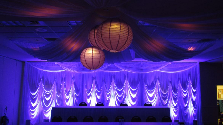 Elegant_Event_Lighting_Chicago_Hilton_Garden_Inn_Wedding_Backdrop_Ceiling_Drapes_Paper_Lanterns_White_Vinyl_Dance_Floor