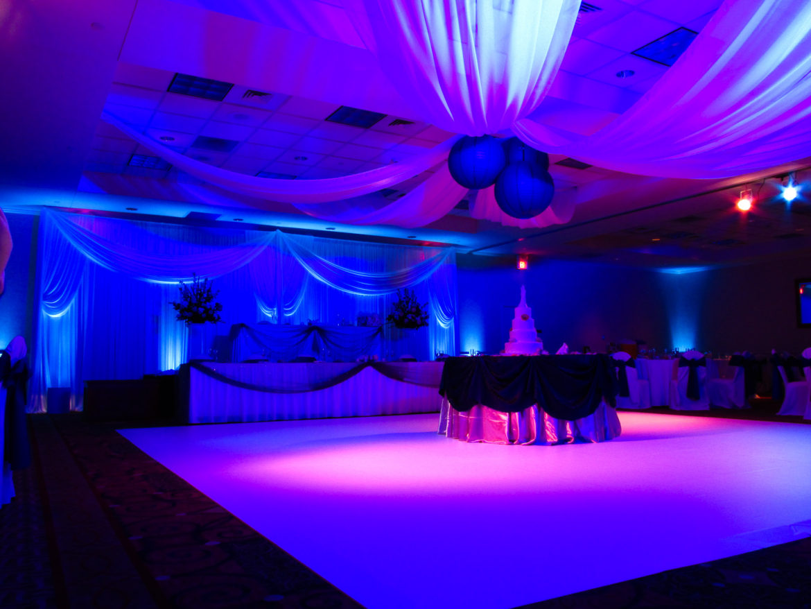 Elegant_Event_Lighting_Chicago_Hilton_Garden_Inn_Wedding_Backdrop_Ceiling_Drapes_Paper_Lanterns_White_Vinyl_Dance_Floor
