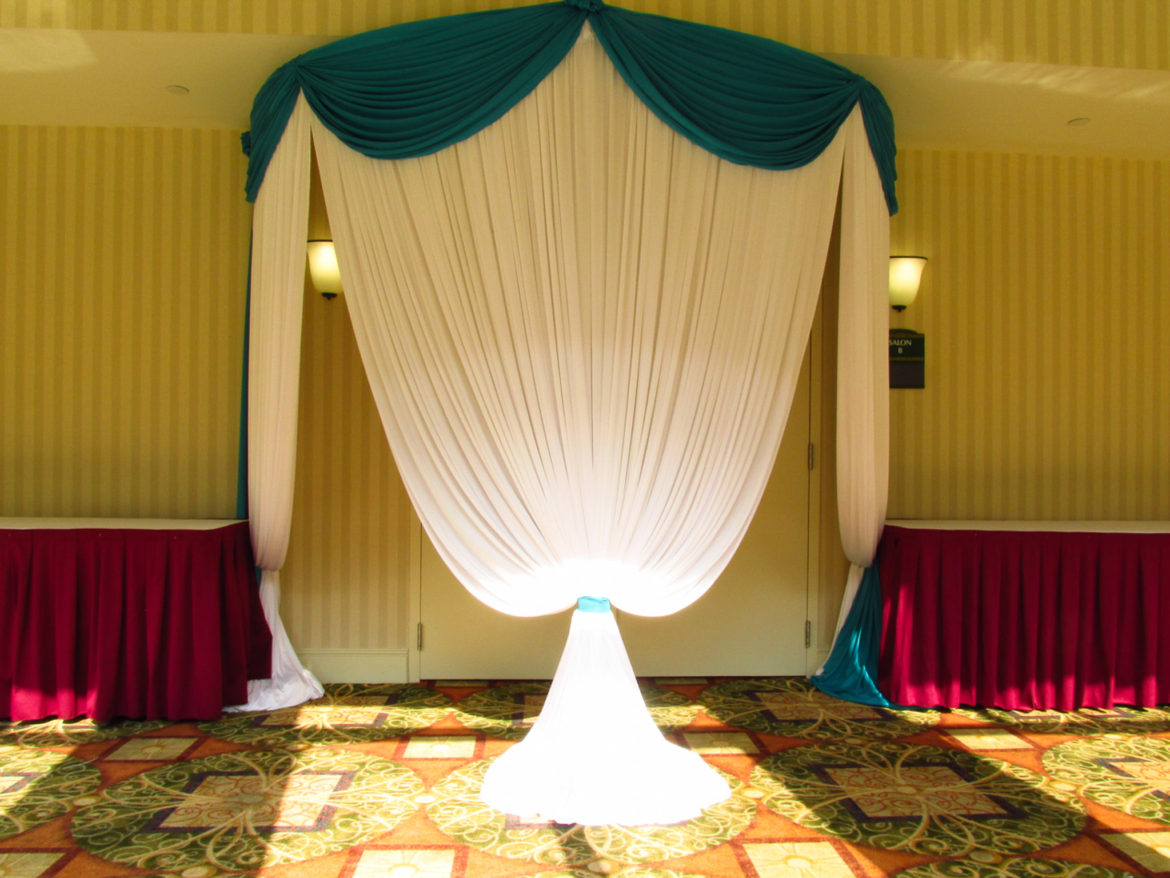 Elegant_Event_Lighting_Chicago_Hilton_Garden_Inn_Wedding_White_Turquoise_Draping_Entrance_Draping