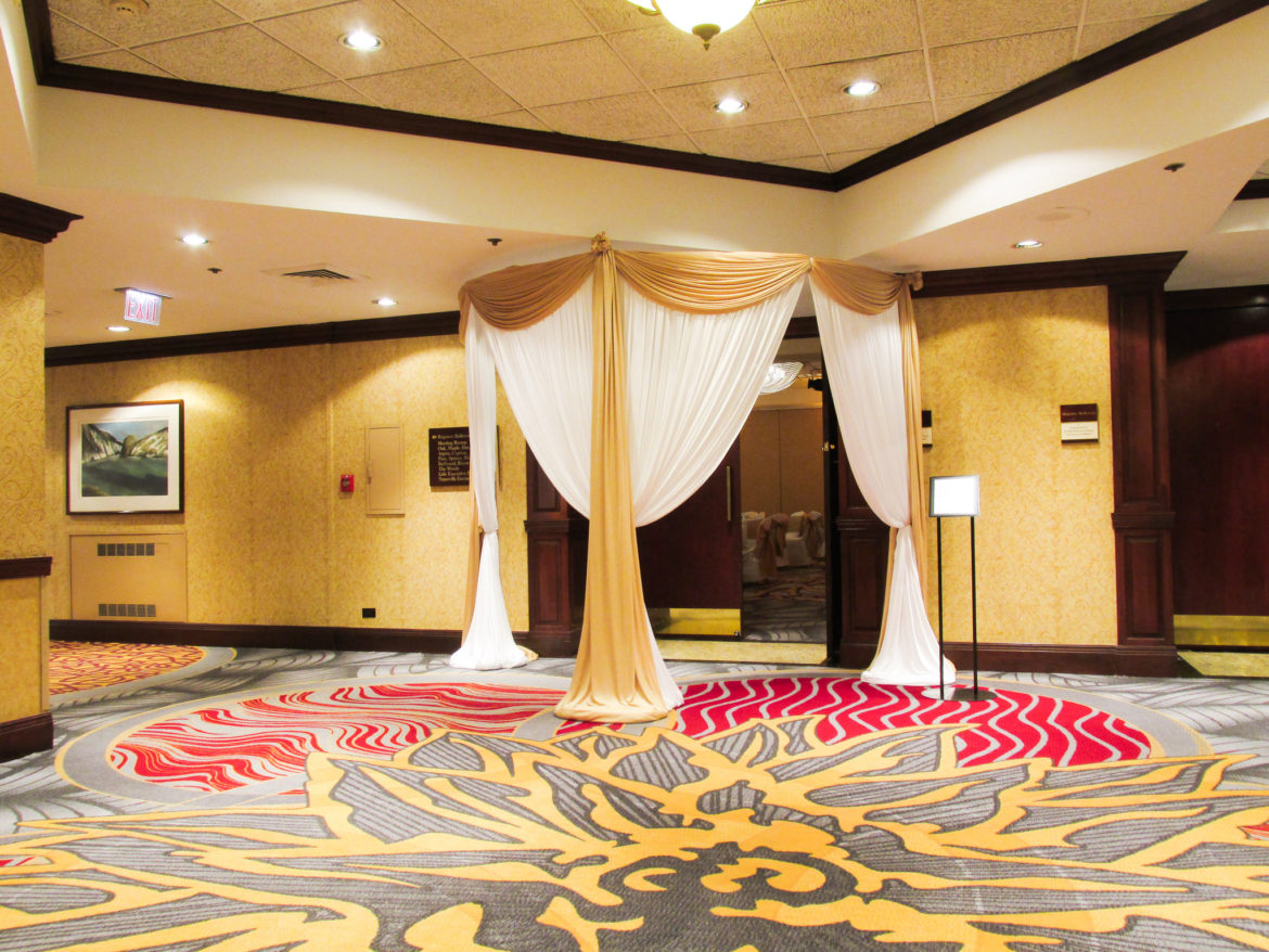 Elegant_Event_Lighting_Chicago_Hilton_Lisle_Naperville_Wedding_Entrance_Draping_Gold_White_Draping