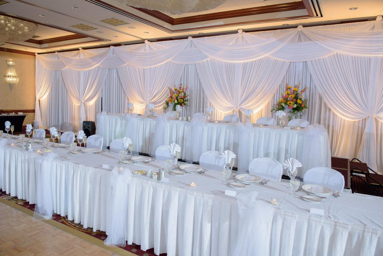 Elegant_Event_Lighting_Chicago_Hilton_Lisle_Naperville_Wedding_White_Draping_Backdrop_Head_Table_Uplighting