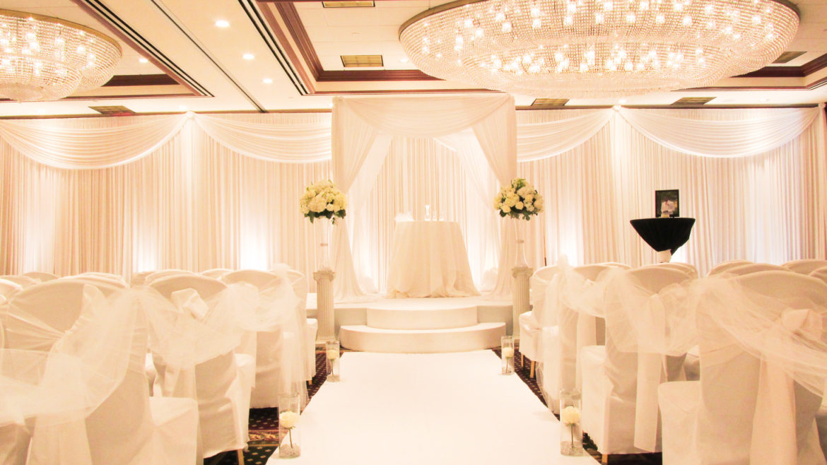 Elegant_Event_Lighting_Chicago_Hilton_Lisle_Naperville_Wedding_White_Room_Draping_Backdrop_Uplighting_Decor_Stage_Cover