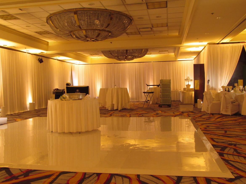 Elegant_Event_Lighting_Chicago_Hilton_Lisle_Wedding_Entrance_Draping_Ivory_Amber_Uplightin