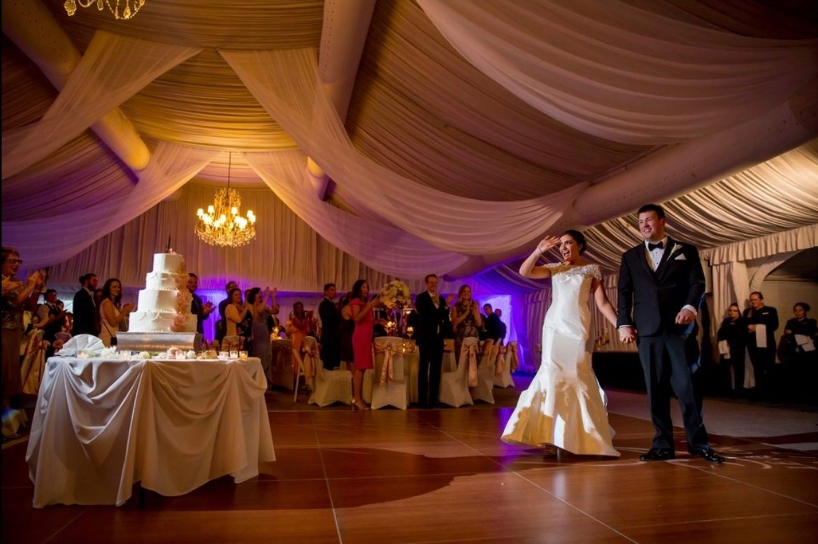 Elegant_Event_Lighting_Chicago_Hilton_Oak_Brook_Hills_Wedding_Ceiling_Drapes_Crystal_Chandeliers_Ceremony