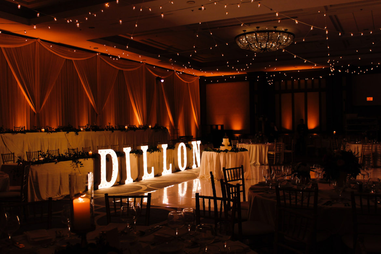 Elegant_Event_Lighting_Chicago_Hilton_Oak_Brook_Wedding_Cafe_Globe_String_Lighting_Amber_Uplighting_Marquee_Letters_Ivory_Backdrop