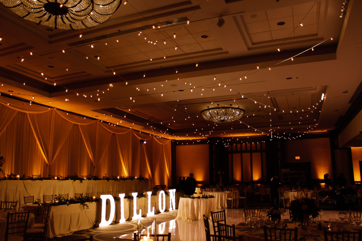 Elegant_Event_Lighting_Chicago_Hilton_Oak_Brook_Wedding_Cafe_Globe_String_Lighting_Amber_Uplighting_Marquee_Letters_Ivory_Backdrop
