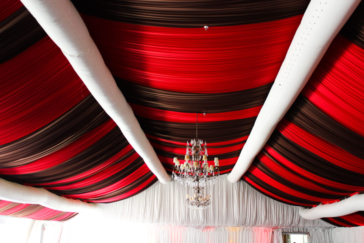 Elegant_Event_Lighting_Chicago_Hilton_Oak_Brook_Wedding_Ceiling_Drapes_Red_Black