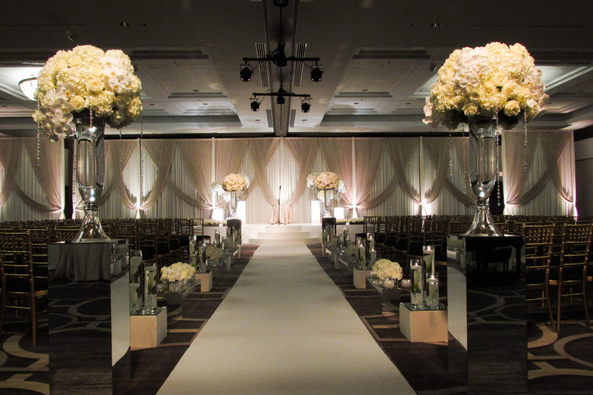 Elegant_Event_Lighting_Chicago_Hilton_Oak_Brook_Wedding_Silver_Ivory_Draping_Backdrop_Ceremony_Aisle_Runner_Stage_Cover