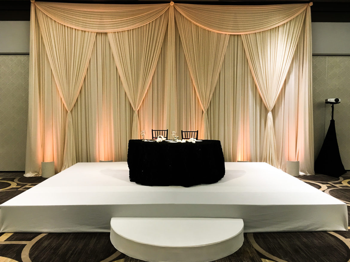 Elegant_Event_Lighting_Chicago_Hilton_Oak_Brook_Wedding_Stage_Cover_Ivory_Backdrop_Reception_Moon_Steps