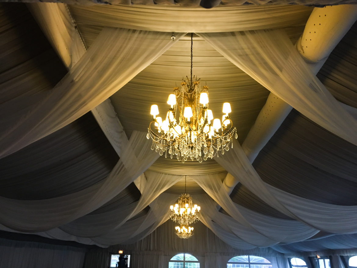 Elegant_Event_Lighting_Chicago_Hilton_Oak_Brook_Wedding_White_Ceiling_Draping_Canopy_Drapes