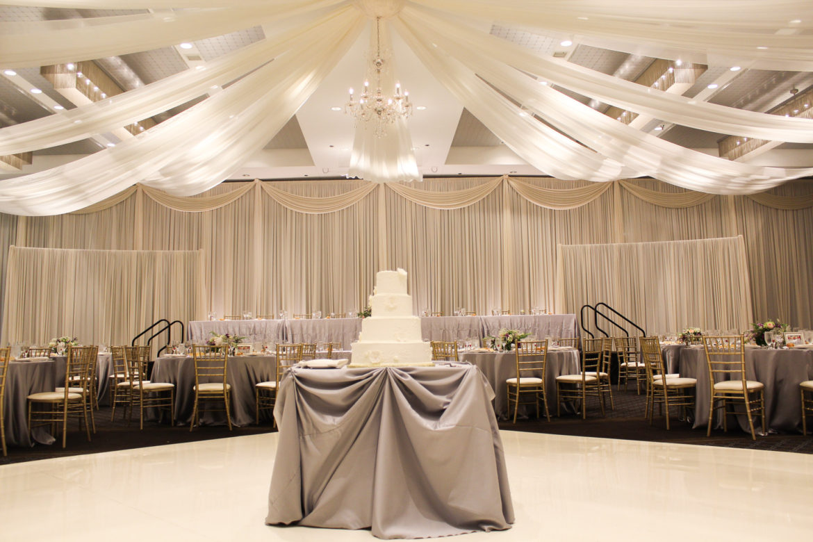 Elegant_Event_Lighting_Chicago_Hotel_Arista_Naperville_Wedding_Backdrop_Ceiling_Drapes_White_Vinyl_Dance_Floor_Cake_Table