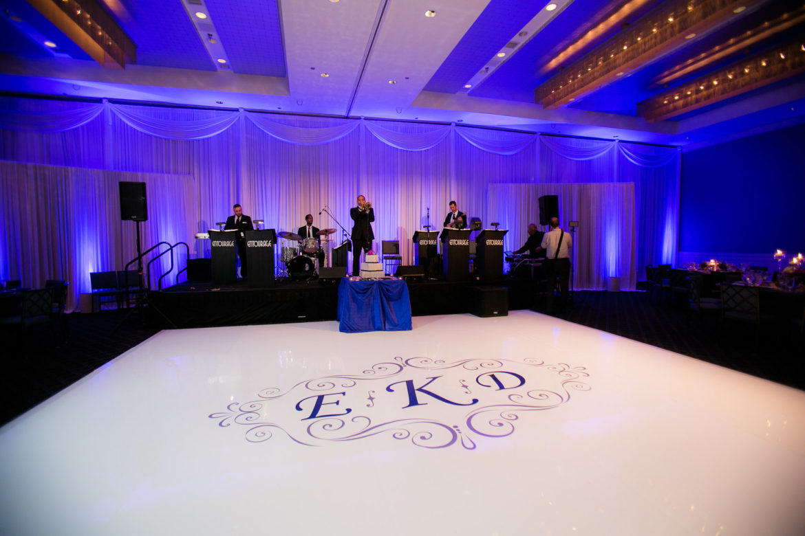 Elegant_Event_Lighting_Chicago_Hotel_Arista_Naperville_Wedding_Blue_LED_Uplighting_White_Dance_Floor_Band_Backdrop