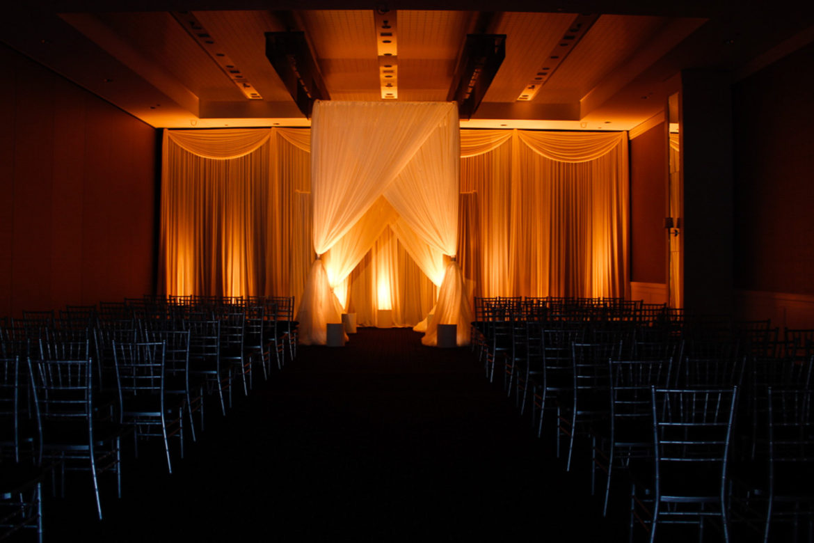 Elegant_Event_Lighting_Chicago_Hotel_Arista_Naperville_Wedding_Ivory_Draping_Amber_Uplighting_Backdrop
