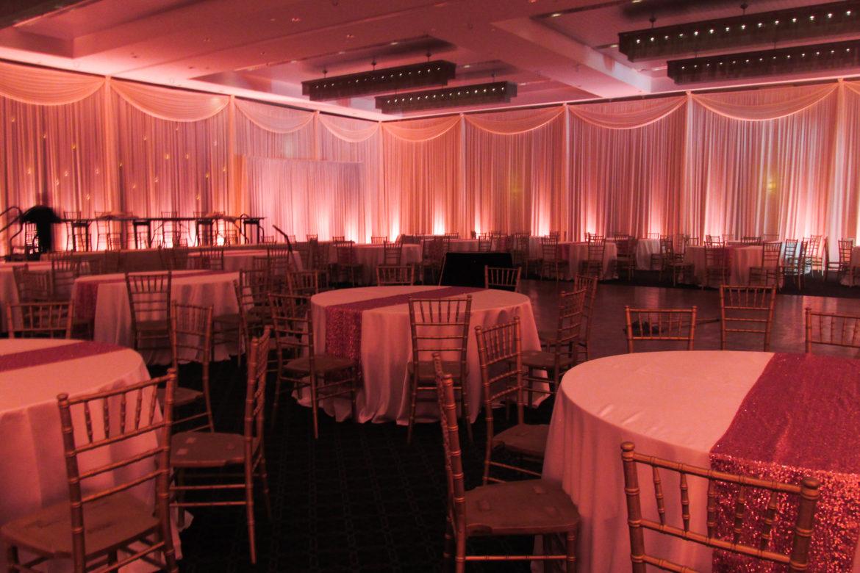 Elegant_Event_Lighting_Chicago_Hotel_Arista_Naperville_Wedding_Pink_Hanging_Candles_Room_Draping