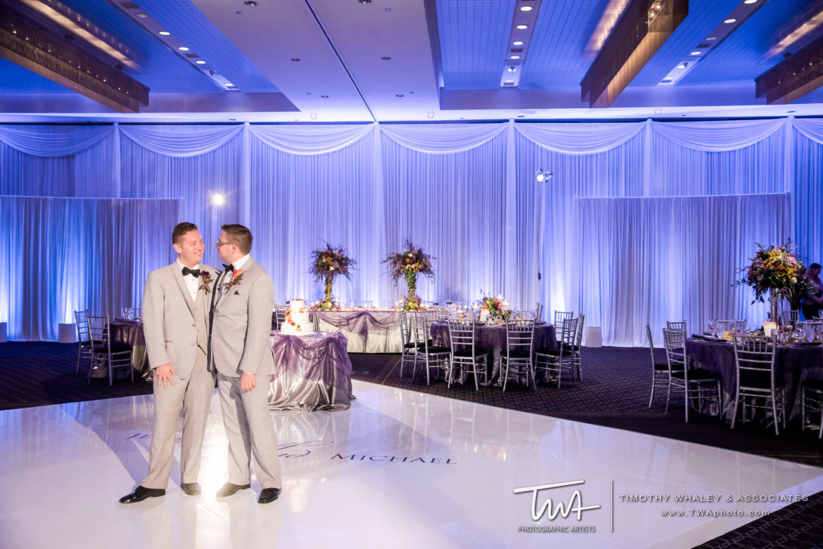 Elegant_Event_Lighting_Chicago_Hotel_Arista_Naperville_Wedding_Purple_Violet_Uplighting_White_Dance_Floor