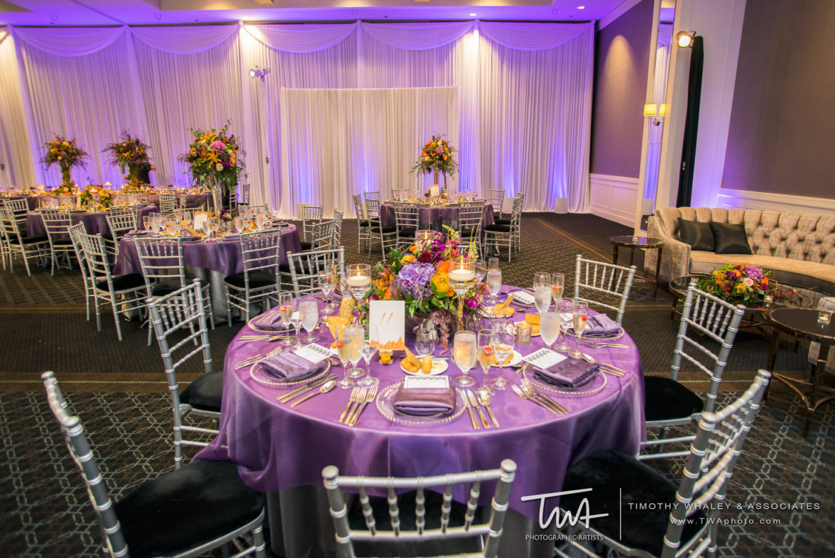 Elegant_Event_Lighting_Chicago_Hotel_Arista_Naperville_Wedding_Ultra_Violet_Color_LED_Uplighting