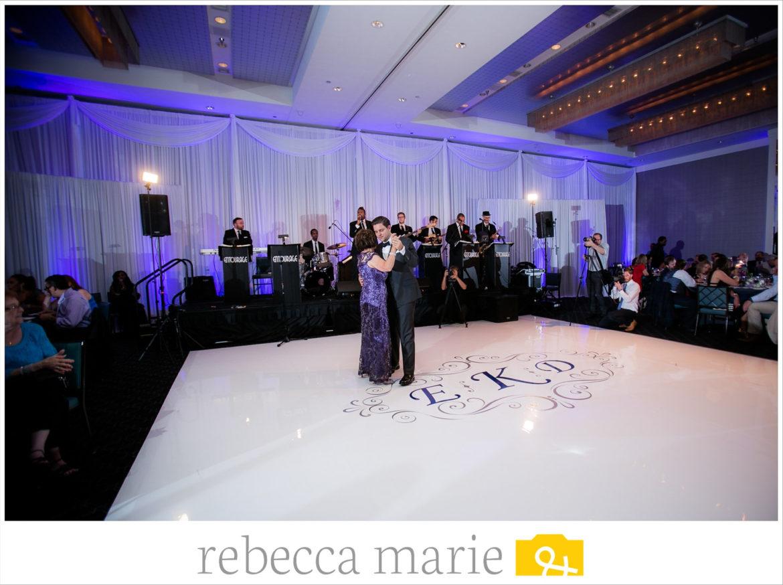 Elegant_Event_Lighting_Chicago_Hotel_Arista_Naperville_Wedding_White_Dance_Floor_Vinyl_Cover_Purple_Gold_Monogram