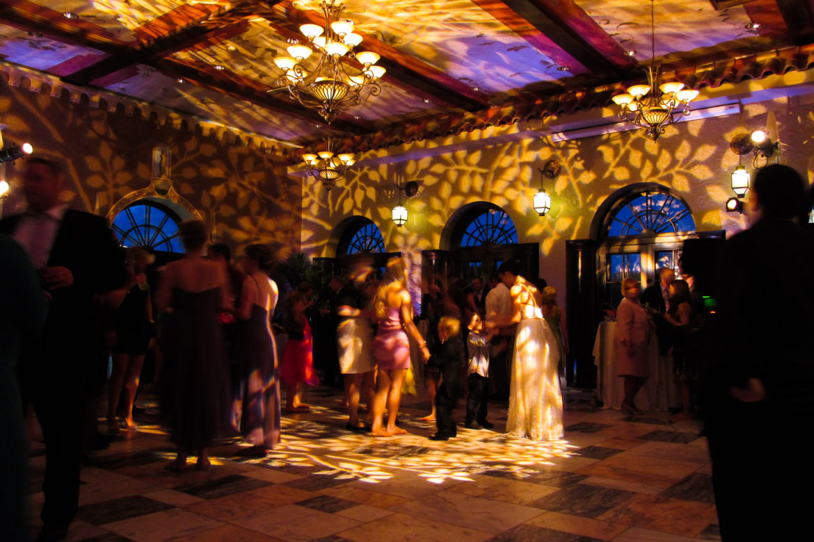 Elegant_Event_Lighting_Chicago_Hotel_Baker_St_Charles_Wedding_Pattern_Ceiling_Lighting_Dance_Floor