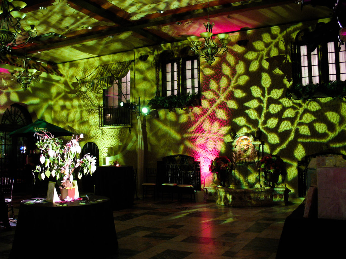 Elegant_Event_Lighting_Chicago_Hotel_Baker_St_Charles_Wedding_Pattern_Green_Lighting_Flower_Lighting