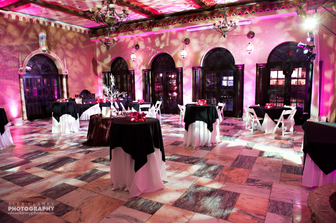 Elegant_Event_Lighting_Chicago_Hotel_Baker_St_Charles_Wedding_Pink_Uplighting_Pattern_Ceiling_Lighting_Dance_Floor