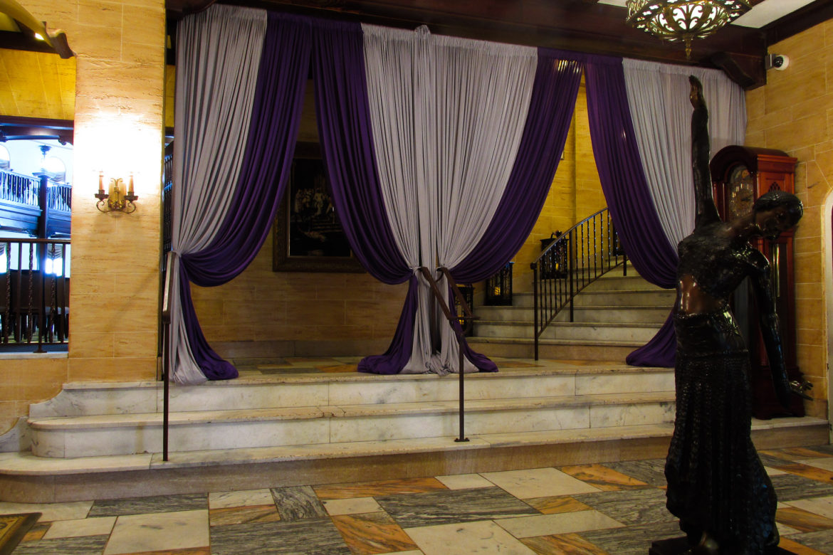 Elegant_Event_Lighting_Chicago_Hotel_Baker_St_Charles_Wedding_Purple_Silver_Entrance_Draping_Lobby