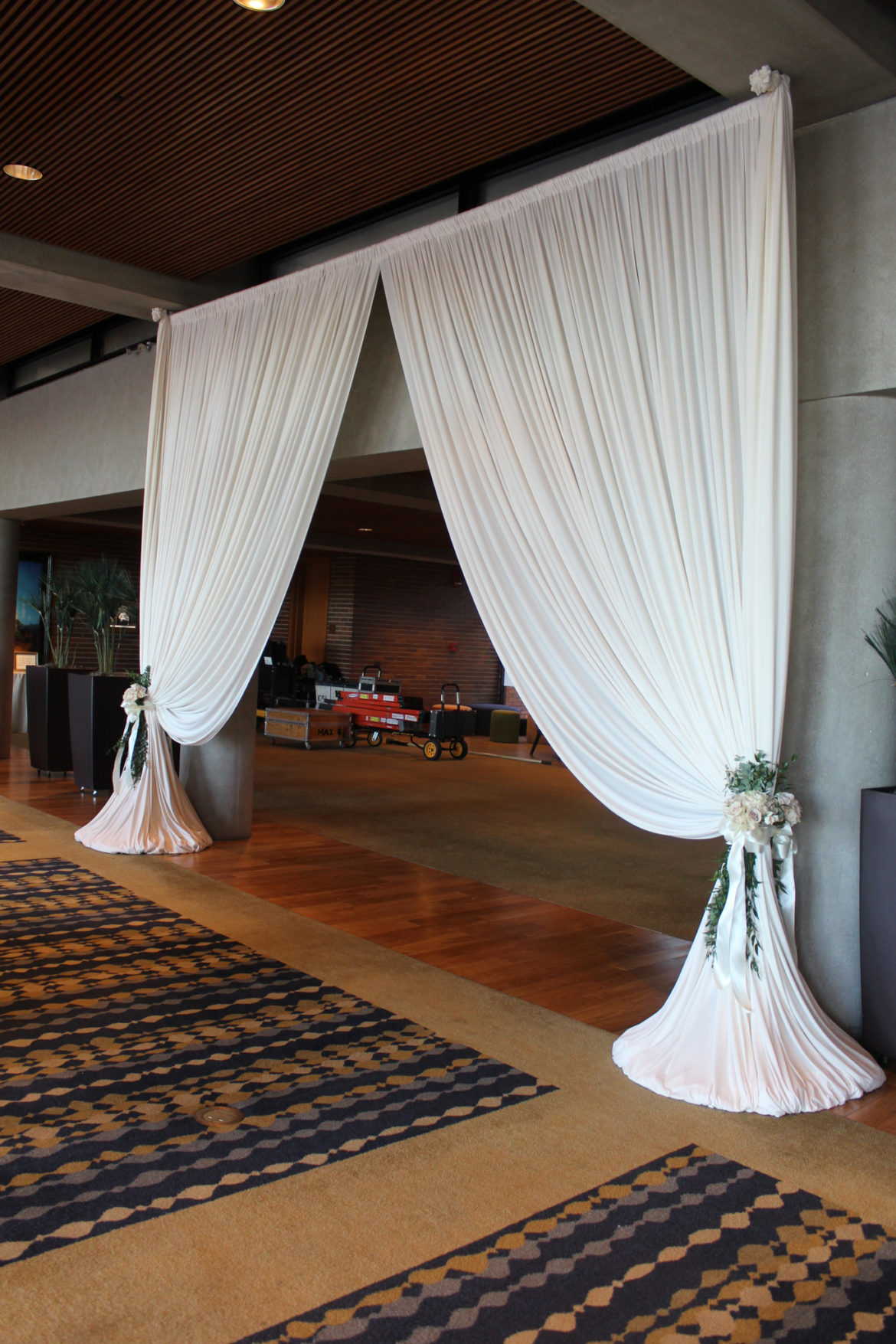 Elegant_Event_Lighting_Chicago_Hyatt_Lodge_McDonalds_Oak_Brook_Wedding_Entrance_Drape