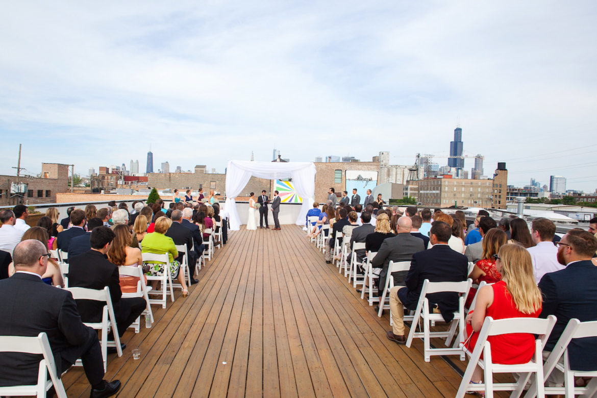 Elegant_Event_Lighting_Chicago_Ignite_Glass_Studios_Wedding_White_Fabric_Chuppah_Skyline_Ceremony
