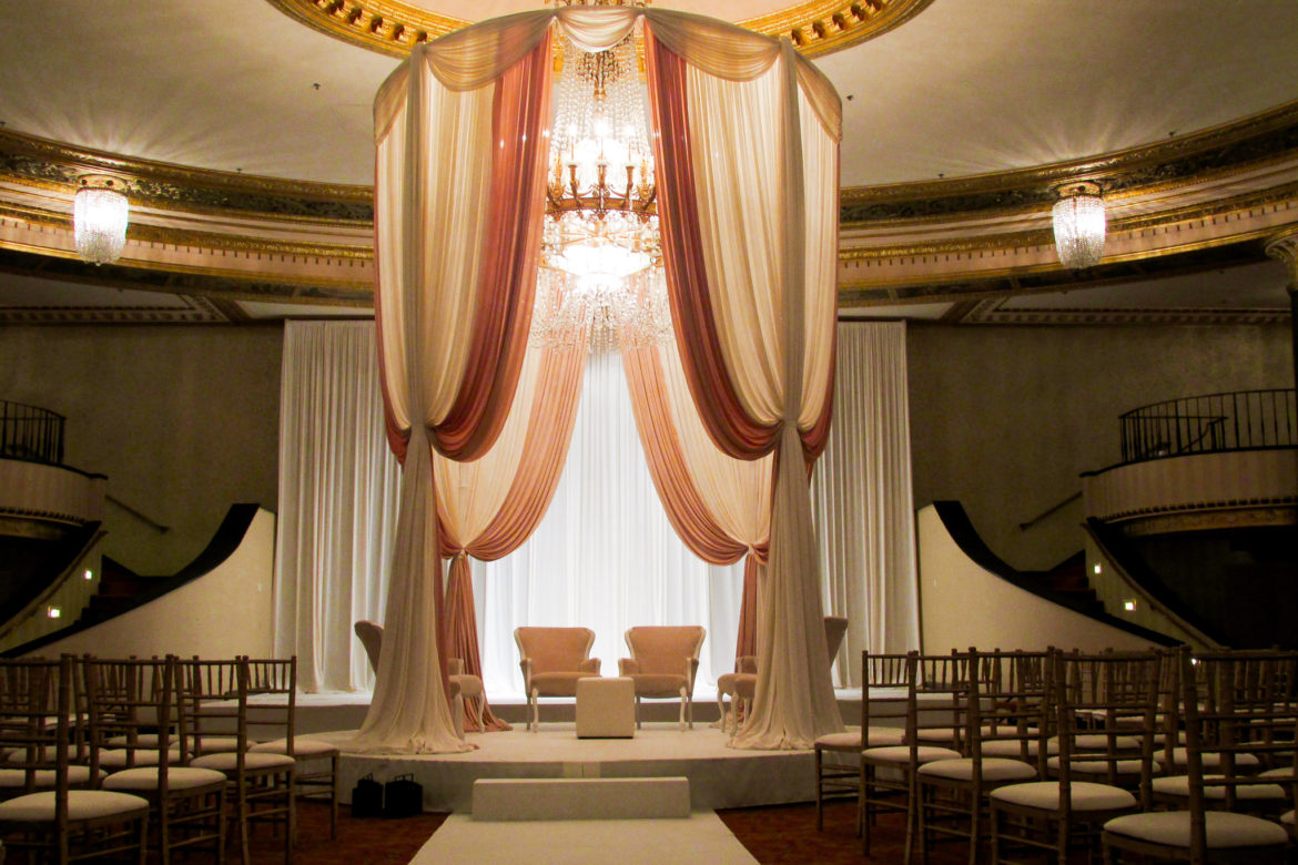 Elegant_Event_Lighting_Chicago_Intercontinental_Wedding_Bridal_Canopy_Chapmpaign_Ivory_Round_Grand_Ceremony_Romantic