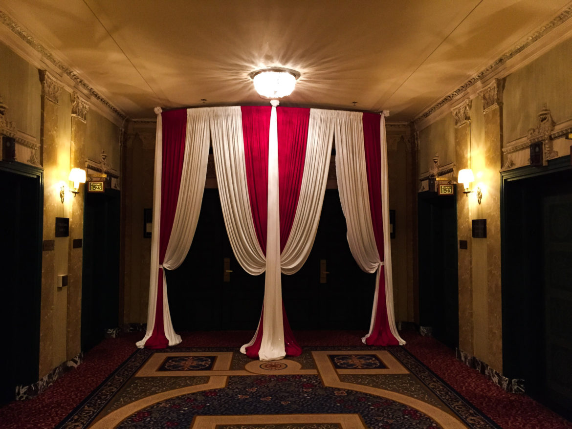 Elegant_Event_Lighting_Chicago_Intercontinental_Wedding_Entrance_Draping_Red_White