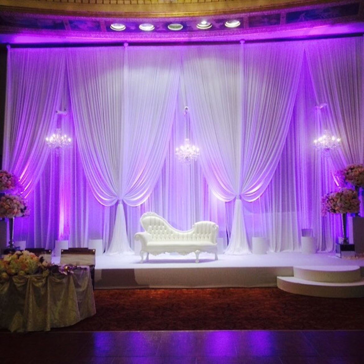 Elegant_Event_Lighting_Chicago_Intercontinental_Wedding_white_Draping_LED_Purple_Uplighting_Crystal_Chandeliers
