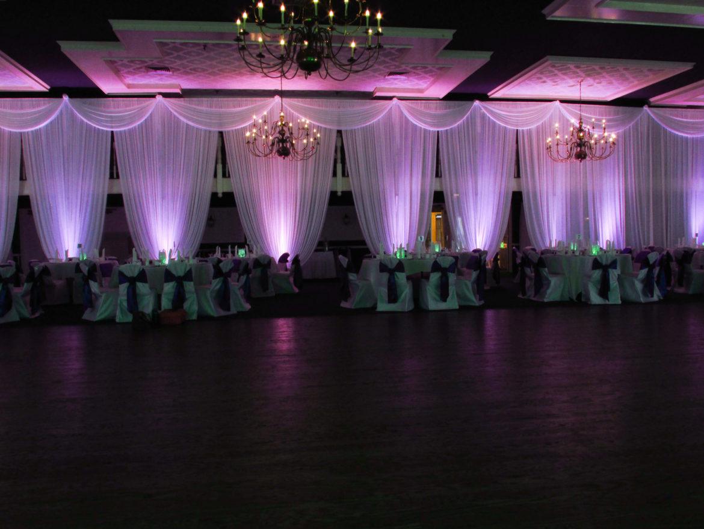 Elegant_Event_Lighting_Chicago_Lexington_House_Hickory_Hills_Wedding_Purple_Uplighting_Room_Draping_Swags_Valances