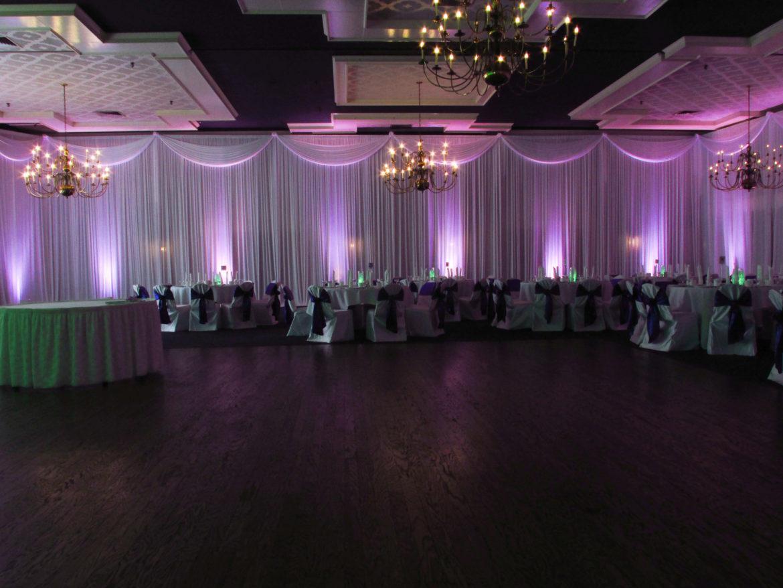 Elegant_Event_Lighting_Chicago_Lexington_House_Hickory_Hills_Wedding_Purple_Uplighting_Room_Draping_Swags_Valances_Chandeliers