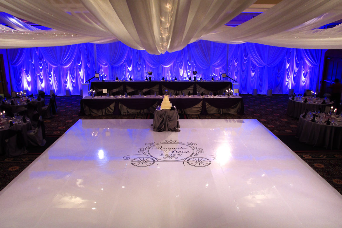 Elegant_Event_Lighting_Chicago_Mariott_Burr_Ridge_Burr_Ridge_Wedding_Purple_Uplighting_White_Backdrop_Draping_Ceiling_Drapes_Twinkle_String_Lights_White_Vinyl_Dance_Floor_Monogram