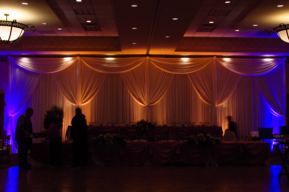 Elegant_Event_Lighting_Chicago_Mariott_Burr_Ridge_Burr_Ridge_Wedding_Uplighting_Blue_Amber_Backdrop_Draping