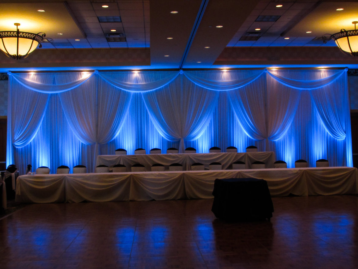 Elegant_Event_Lighting_Chicago_Mariott_Burr_Ridge_Burr_Ridge_Wedding_Uplighting_Blue_Backdrop_Draping