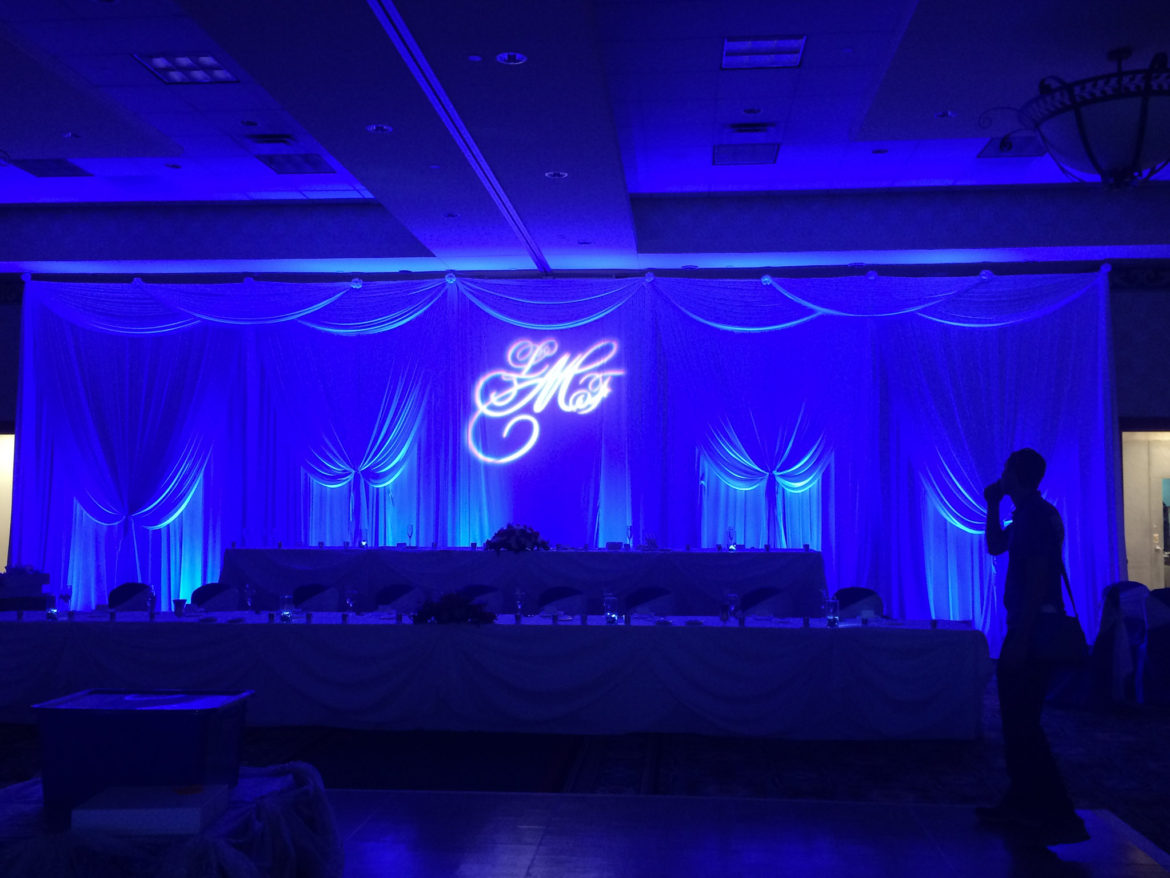Elegant_Event_Lighting_Chicago_Mariott_Burr_Ridge_Burr_Ridge_Wedding_Uplighting_Blue_Backdrop_Draping_Monogram