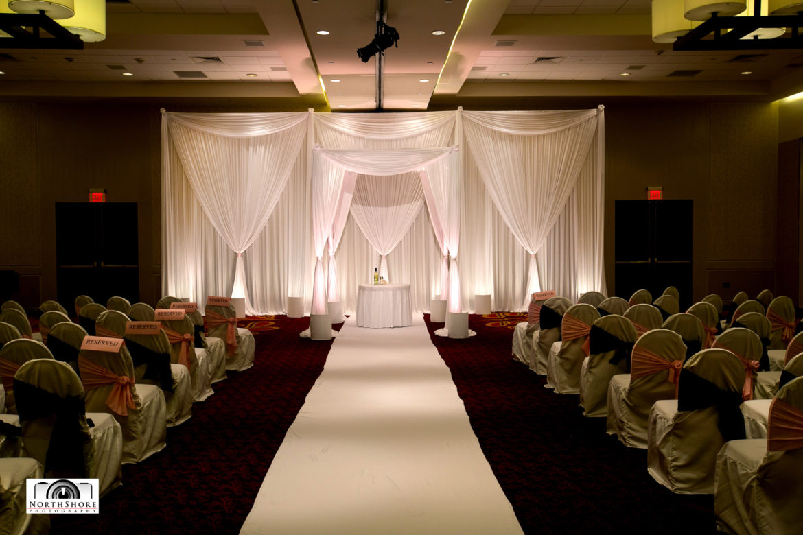 Elegant_Event_Lighting_Chicago_Marriott_Schaumburg_Wedding_Bridal_Canopy_Chuppah_White_Draping_Backdrop_Ceremony_Aisle_Runner