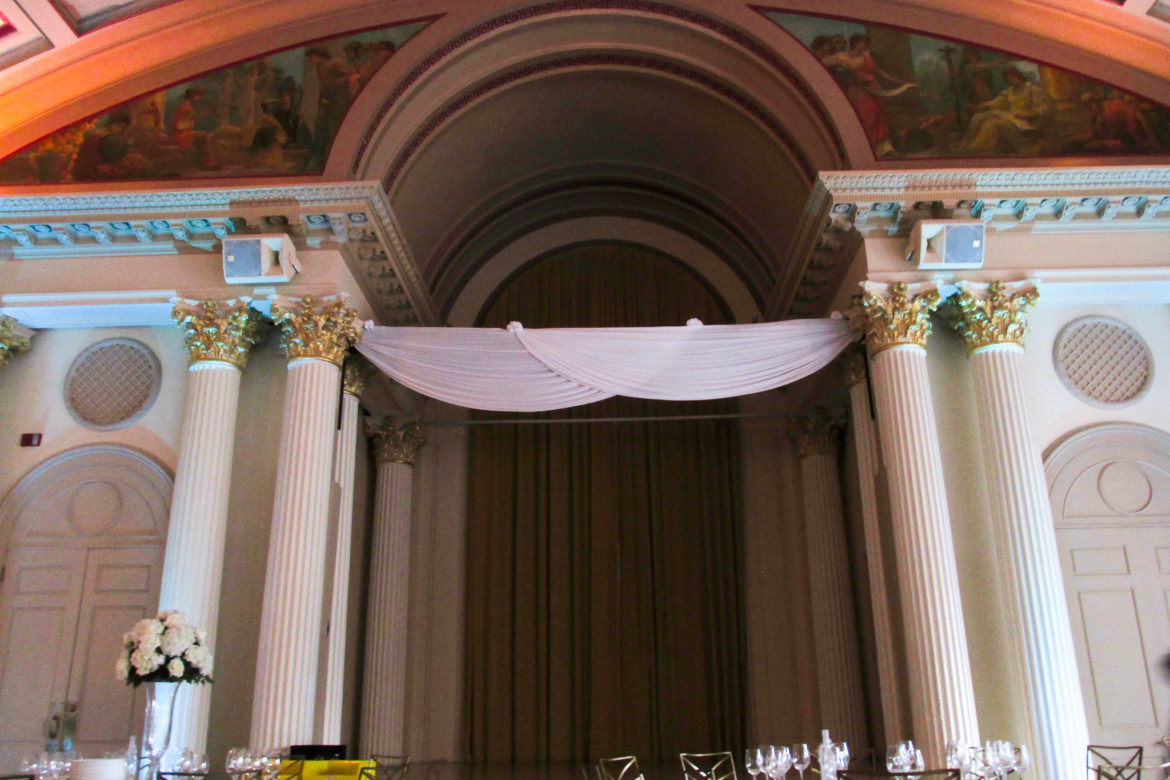 Elegant_Event_Lighting_Chicago_Medinah_Country_Club_Medinah_Wedding_Uplighting_White_Backdrop_Arch_Draping_Flower